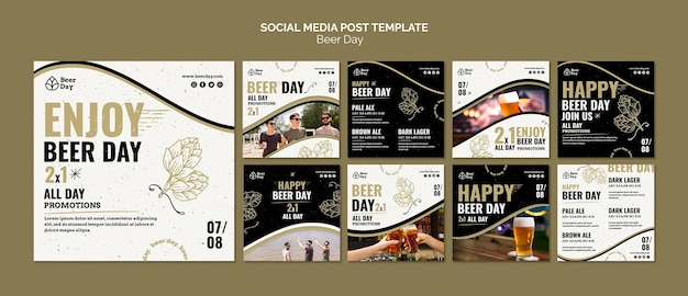Collection de publications instagram jour de bière