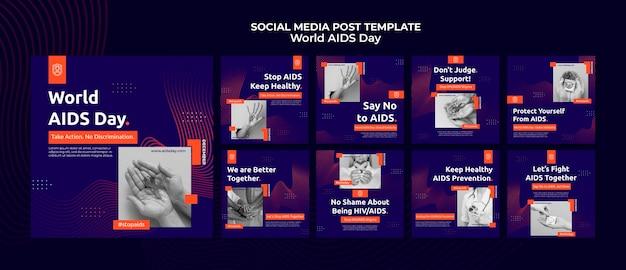 Collection de publications instagram de la journée mondiale du sida avec des détails orange