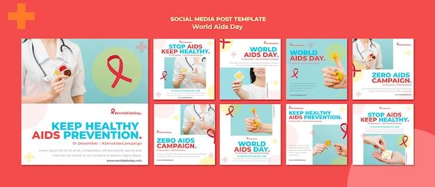 Collection de publications instagram de la journée mondiale du sida