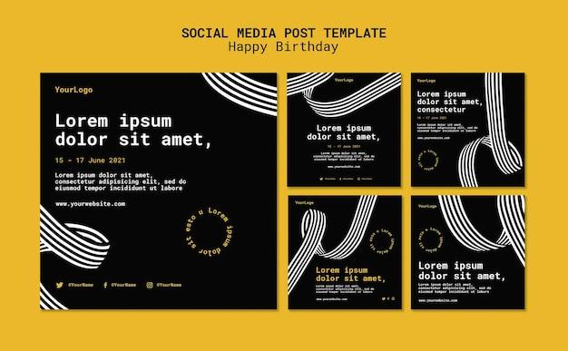 Collection de publications instagram avec des lignes en trois dimensions