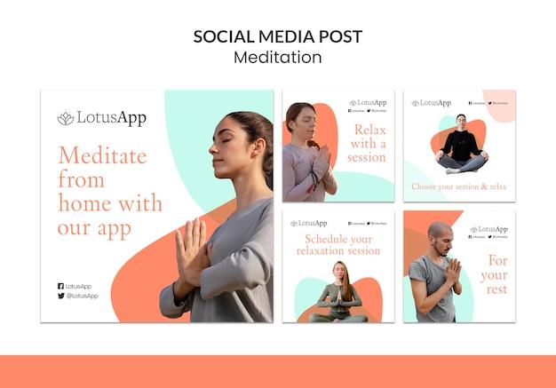 Collection de publications instagram sur le mode de vie de méditation
