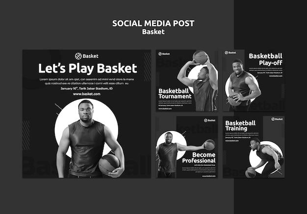 Collection de publications instagram en noir et blanc avec un athlète de basket-ball masculin