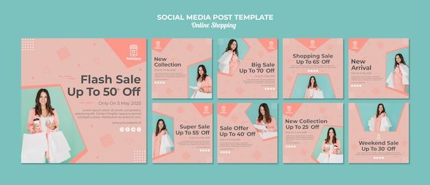 Collection de publications instagram pour les achats en ligne avec vente