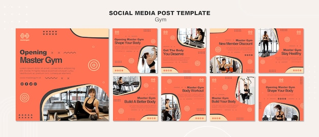 Collection de publications instagram pour l'activité de gym