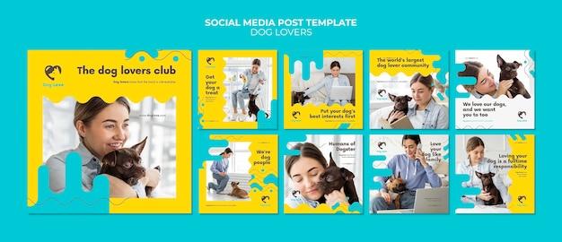 Collection De Publications Instagram Pour Les Amoureux Des Chiens Avec Une Propriétaire PSD Premium