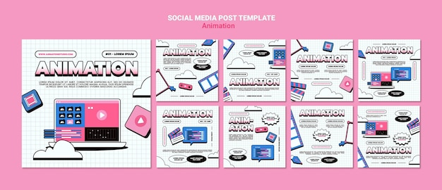 Collection de publications instagram pour l'animation par ordinateur