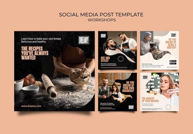 Collection de publications instagram pour les ateliers et les cours de profession