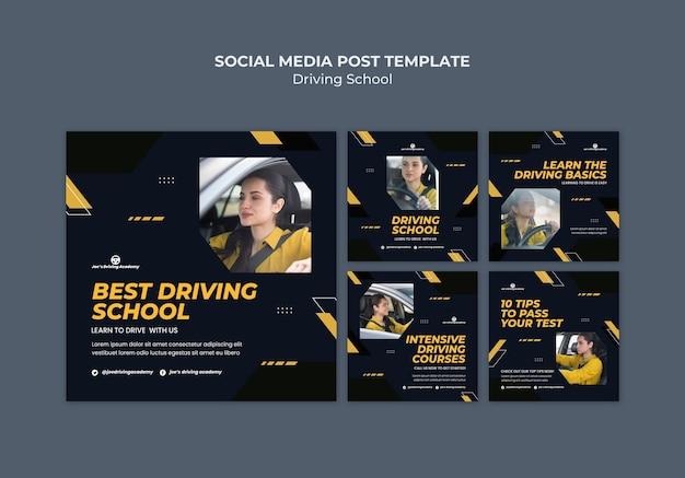 Collection de publications instagram pour auto-école avec conductrice