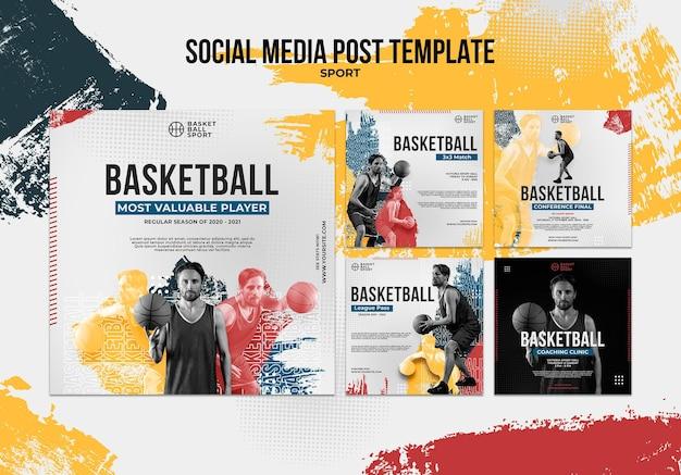 Collection de publications instagram pour le basket-ball avec un joueur masculin
