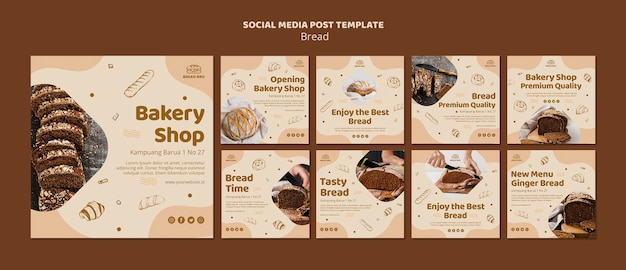 Collection de publications instagram pour une boulangerie