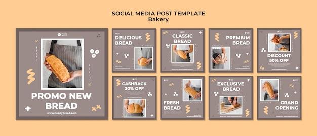 Collection de publications instagram pour boulangerie
