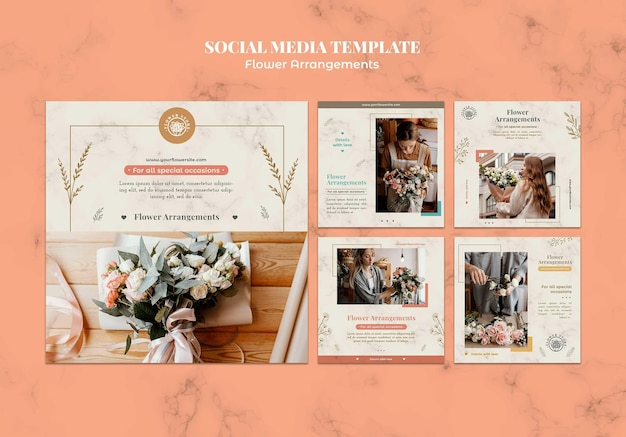 Collection de publications instagram pour la boutique d'arrangements floraux