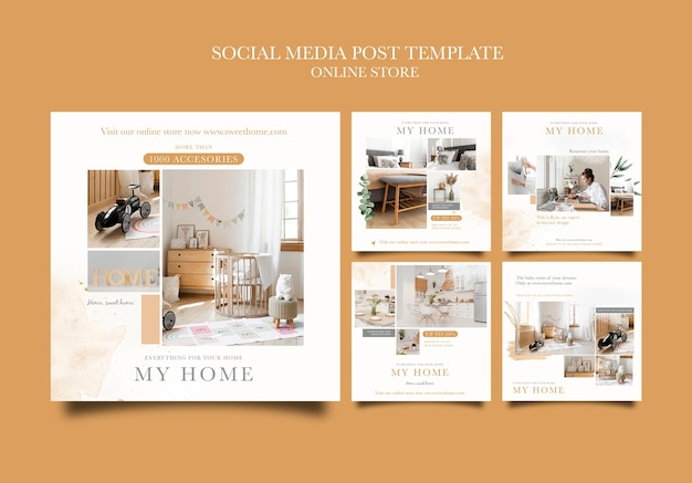 Collection de publications instagram pour la boutique en ligne de meubles de maison