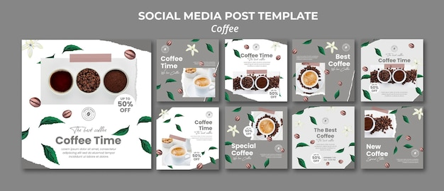 Collection de publications instagram pour le café