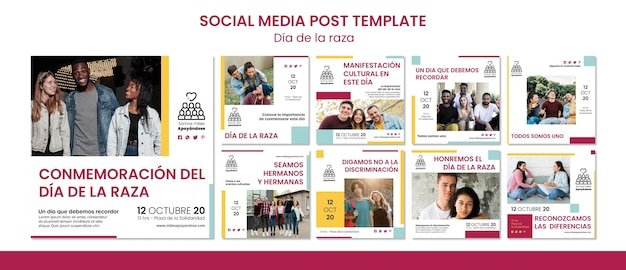 Collection de publications instagram pour la célébration de la journée de columbus