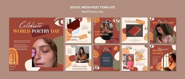 Collection de publications instagram pour la célébration de la journée mondiale de la poésie