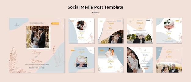 Collection de publications instagram pour la cérémonie de mariage avec les mariés
