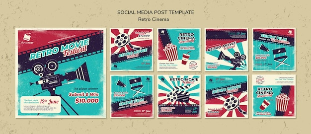Collection de publications instagram pour le cinéma rétro
