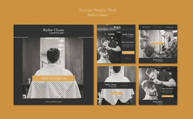 Collection de publications instagram pour les cours de coiffeur