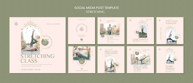 Collection de publications instagram pour cours d'étirement