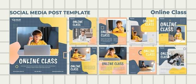 Collection de publications instagram pour les cours en ligne avec des enfants
