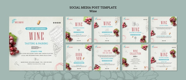 Collection de publications instagram pour la dégustation de vins