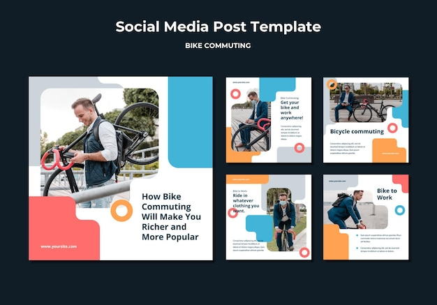 Collection de publications instagram pour les déplacements à vélo avec un passager masculin