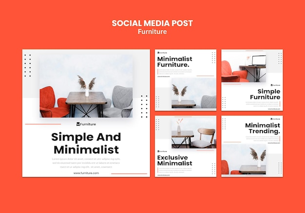 Collection de publications instagram pour des designs de meubles minimalistes