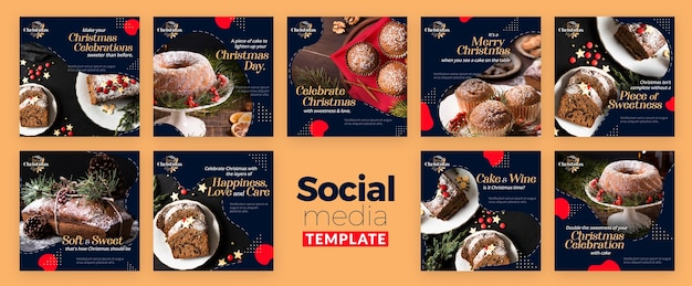 Collection de publications instagram pour les desserts traditionnels de noël