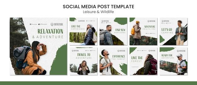 Collection de publications instagram pour la détente et l'aventure