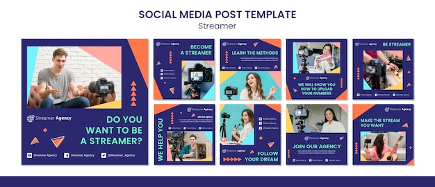 Collection de publications instagram pour diffuser du contenu en ligne