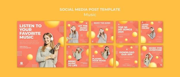 Collection de publications instagram pour diffuser de la musique en ligne avec une femme portant des écouteurs