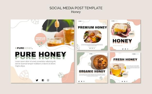 Collection de publications instagram pour du miel pur