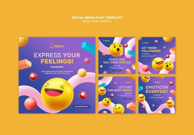 Collection de publications instagram pour les émoticônes d'applications de médias sociaux
