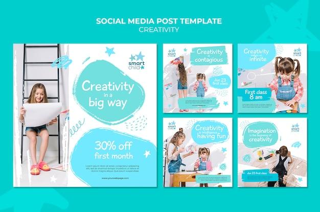 Collection de publications instagram pour les enfants créatifs qui s'amusent