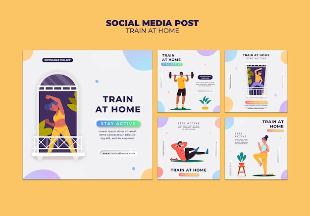 Collection de publications instagram pour l'entraînement de fitness à la maison