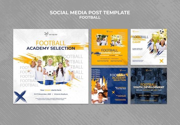 Collection de publications instagram pour l'entraînement de football pour enfants