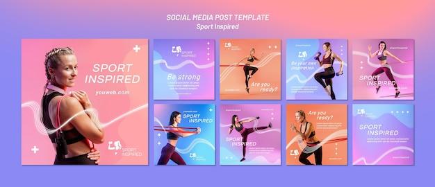 Collection de publications instagram pour l'entraînement physique