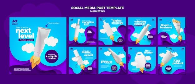 Collection de publications instagram pour une entreprise de marketing avec des produits