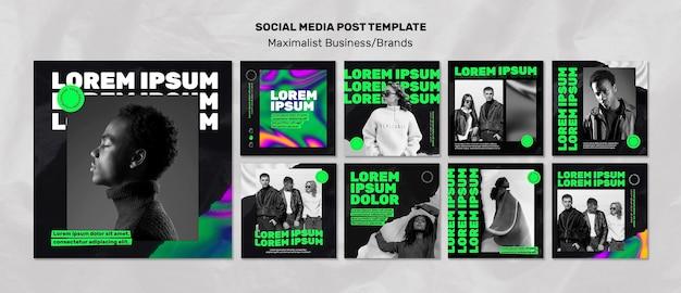 Collection de publications instagram pour les entreprises maximalistes