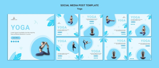 Collection de publications instagram pour l'exercice de yoga