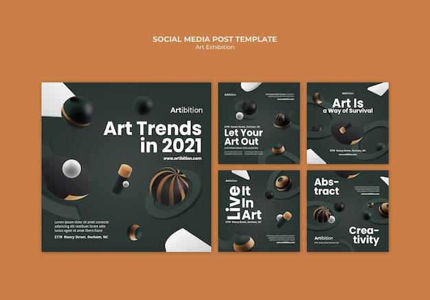 Collection de publications instagram pour une exposition d'art aux formes géométriques
