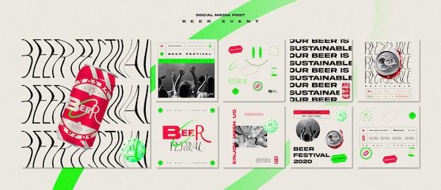 Collection de publications instagram pour le festival de la bière