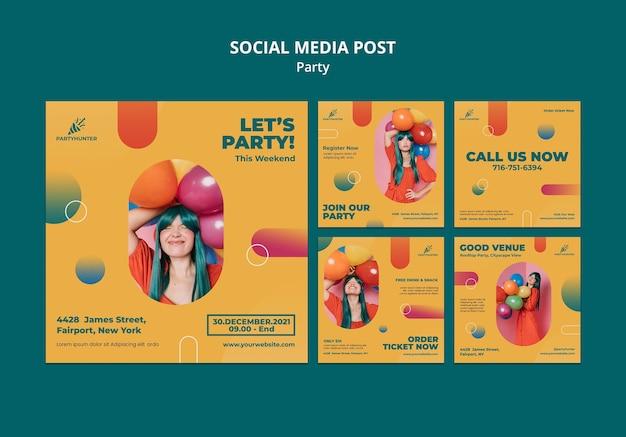 Collection de publications instagram pour une fête avec une femme et des ballons