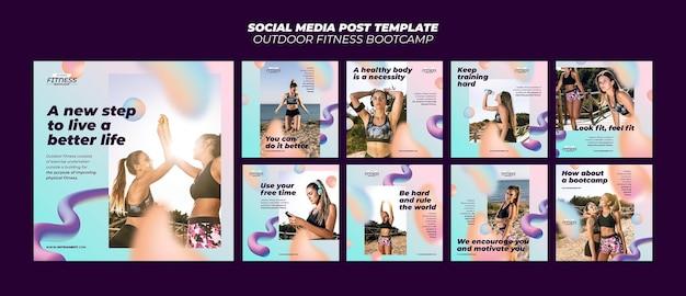 Collection de publications instagram pour le fitness en plein air