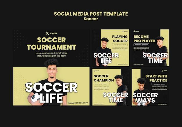Collection de publications instagram pour le football avec un joueur masculin