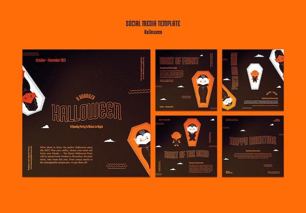 Collection de publications instagram pour halloween avec vampire dans un cercueil