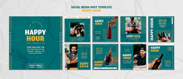 Collection de publications instagram pour l'happy hour