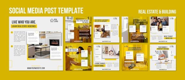 Collection de publications instagram pour l'immobilier et la construction
