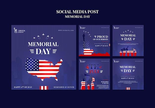 Collection de publications instagram pour le jour commémoratif des états-unis